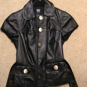 W by worth black leather cap sleeve vest